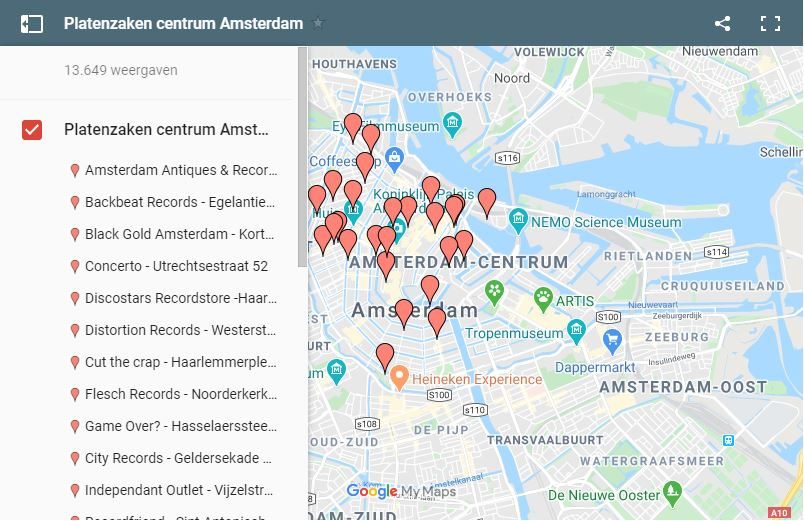 platenzaken routeplanner amsterdam